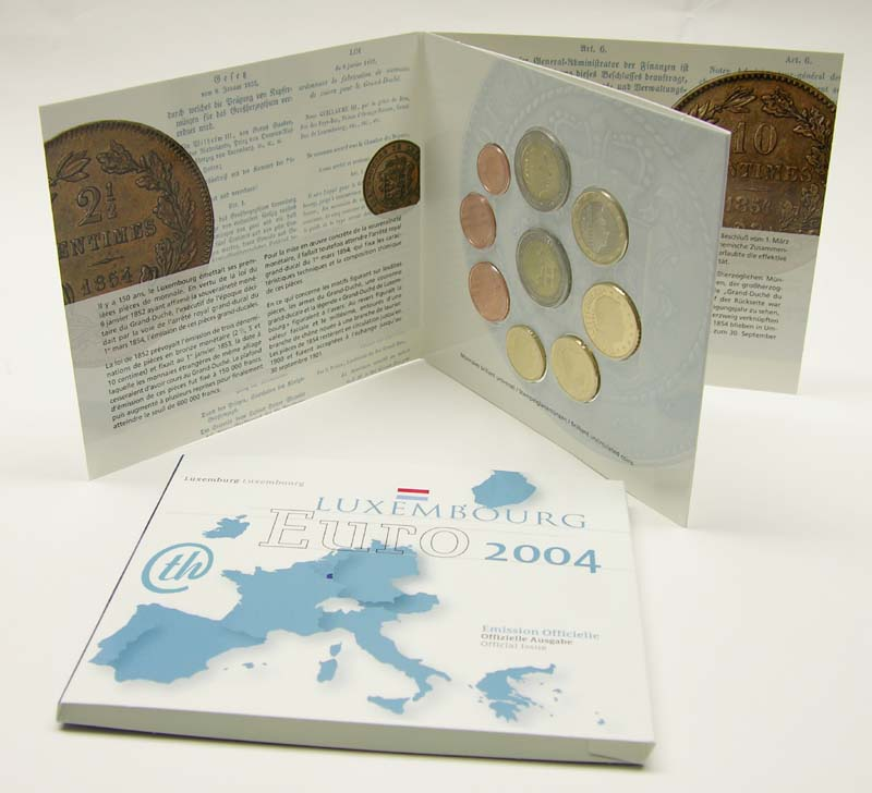 Luxemburg : 5,88 Euro original Kursm�nzensatz aus Luxemburg mit 2 Euro Gedenkm�nze Henri  2004 Stgl. KMS Luxemburg 2004