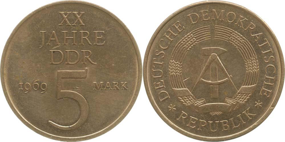 DDR : 5 Mark 20 Jahre DDR  1969 vz.
