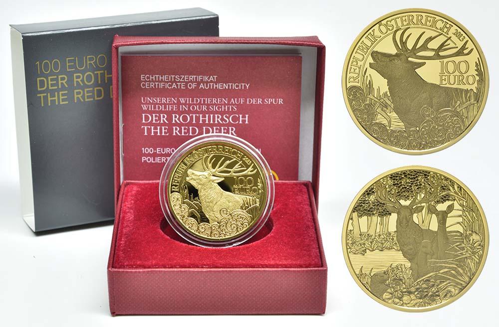Lieferumfang:Österreich : 100 Euro Rothirsch  2013 PP