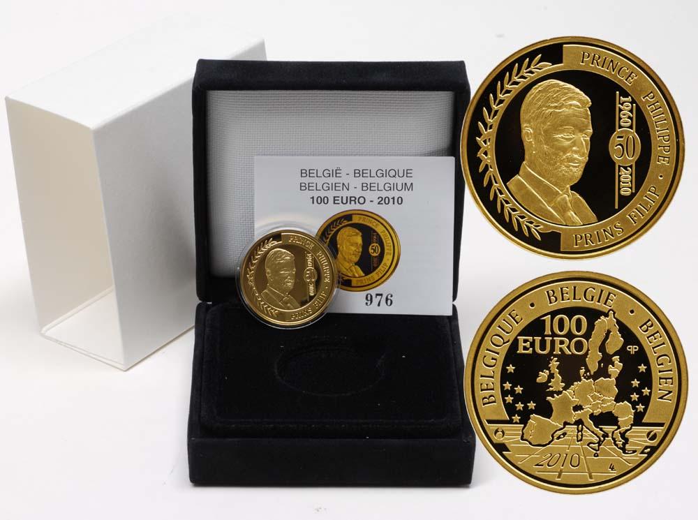 Lieferumfang:Belgien : 100 Euro 50. Geburtstag Philipp von Belgien inkl. Originaletui und Zertifikat  2010 PP 100 Euro Belgien 2010