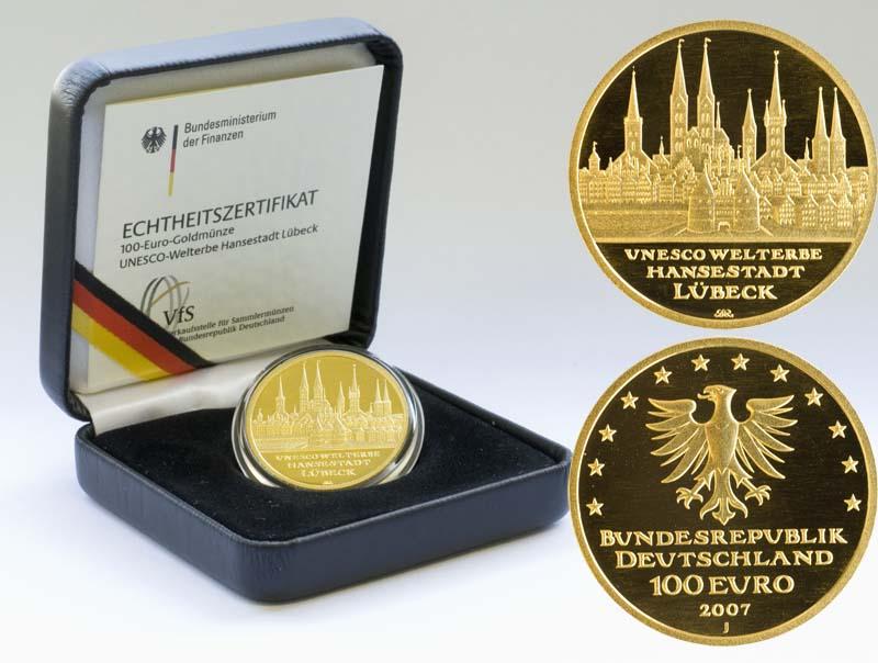 Lieferumfang:Deutschland : 100 Euro Hansestadt Lübeck Buchstabe unserer Wahl  2007 Stgl. 100 Euro Lübeck