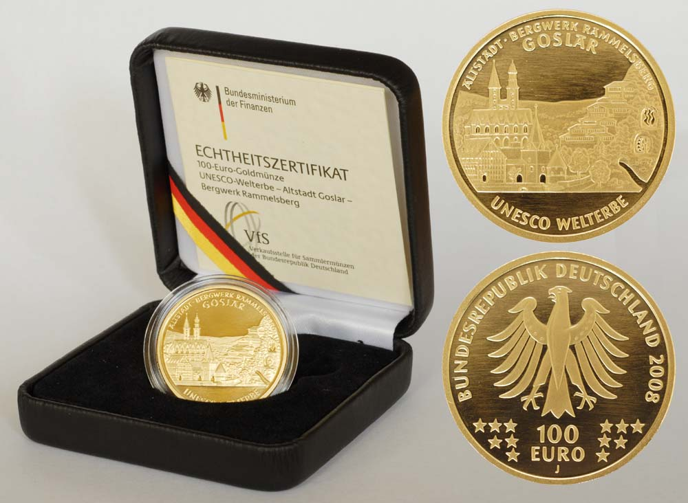 Deutschland : 100 Euro Goslar - Bergwerk Rammelsberg inkl. Originaletui und Zertifikat Buchstabe unserer Wahl  2008 Stgl. 100 Euro Goslar 2008