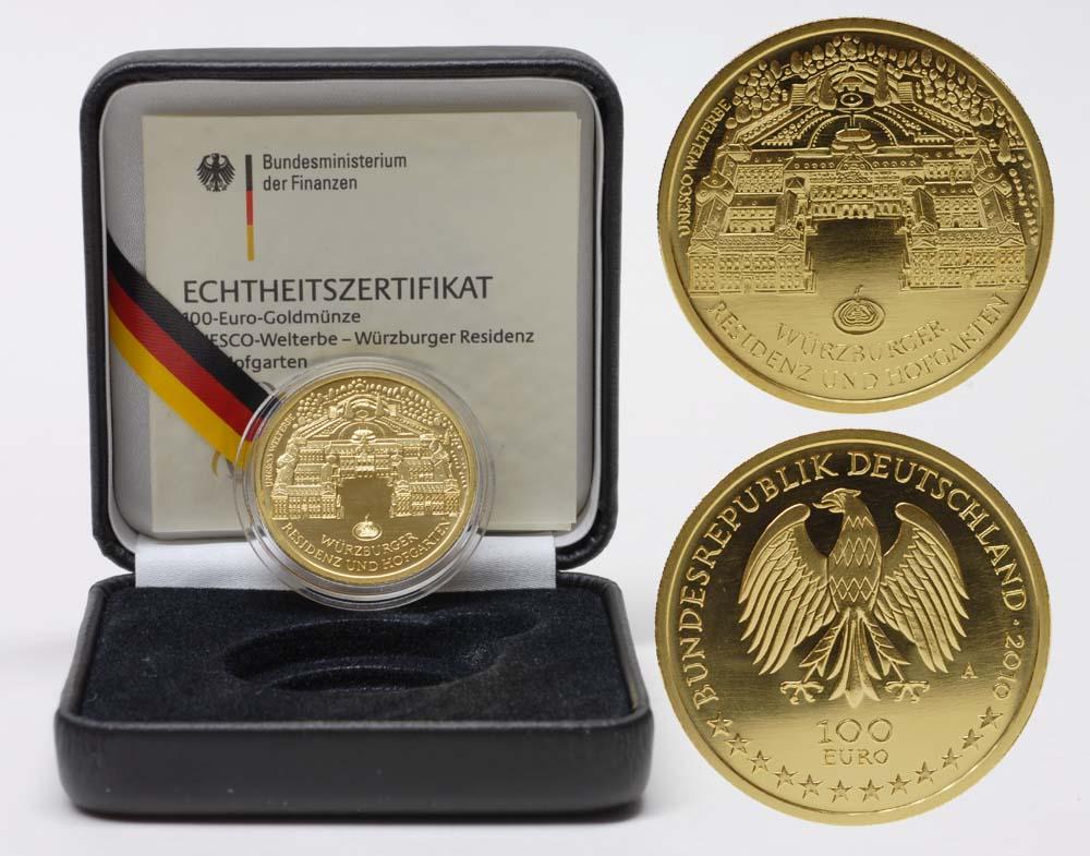 Lieferumfang:Deutschland : 100 Euro Komplettsatz : A-J  Würzburger Residenz und Hofgarten  2010 Stgl. 100 Euro Würzburg 2010 komplett ADFGJ