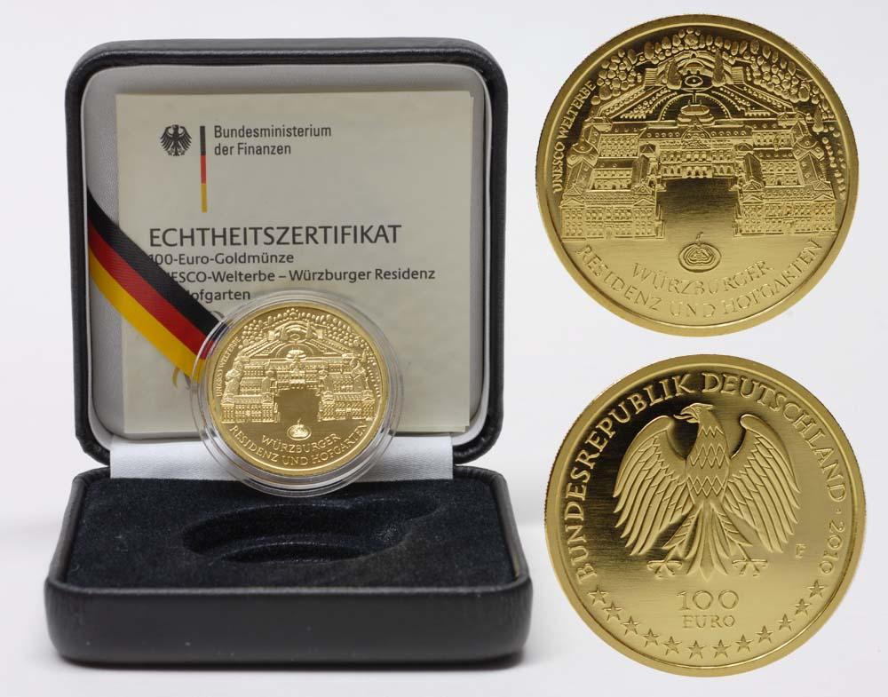 Lieferumfang:Deutschland : 100 Euro Würzburger Residenz und Hofgarten  2010 Stgl. 100 Euro Würzburg 2010 F