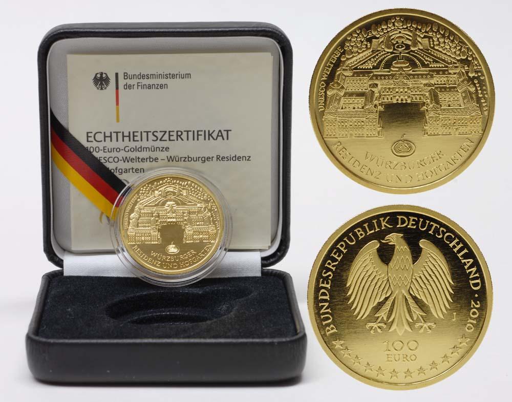 Deutschland : 100 Euro Würzburger Residenz und Hofgarten  - Prägebuchstabe unserer Wahl  2010 Stgl. 100 Euro Würzburg 2010