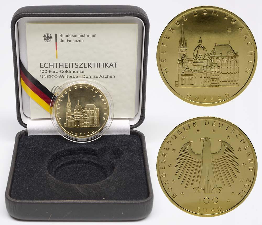 Übersicht:Deutschland : 100 Euro Aachener Dom Komplettset A,D,F,G,J 5 Münzen  2012 Stgl.