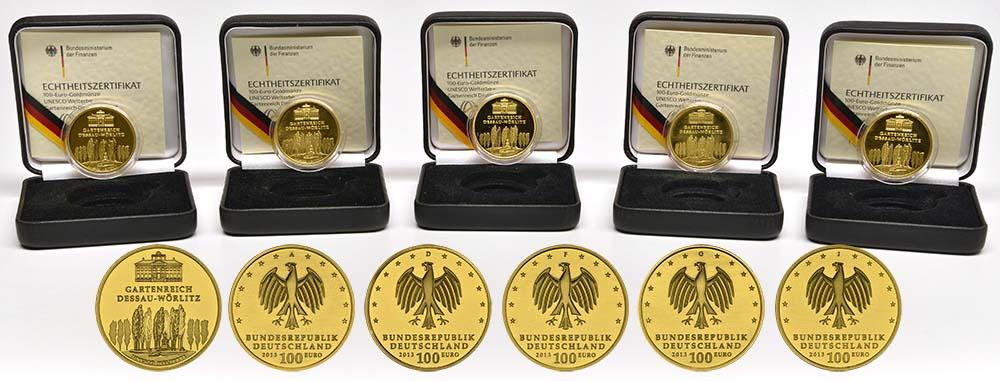 Deutschland : 100 Euro Gartenreich Dessau-Wörlitz Komplettset A,D,F,G,J 5 Münzen  2013 Stgl.