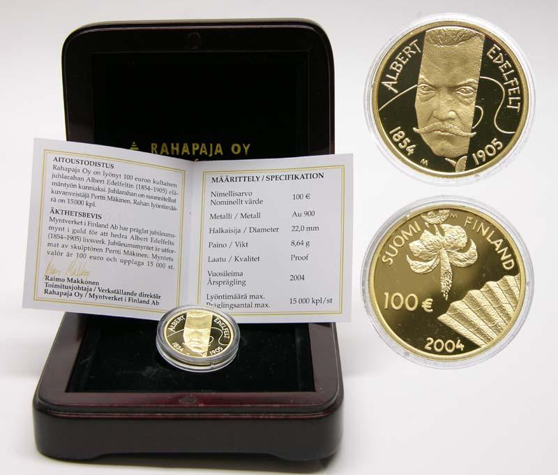 Lieferumfang:Finnland : 100 Euro Albert Edefelt inkl. Originaletui und Zertifikat  2004 PP