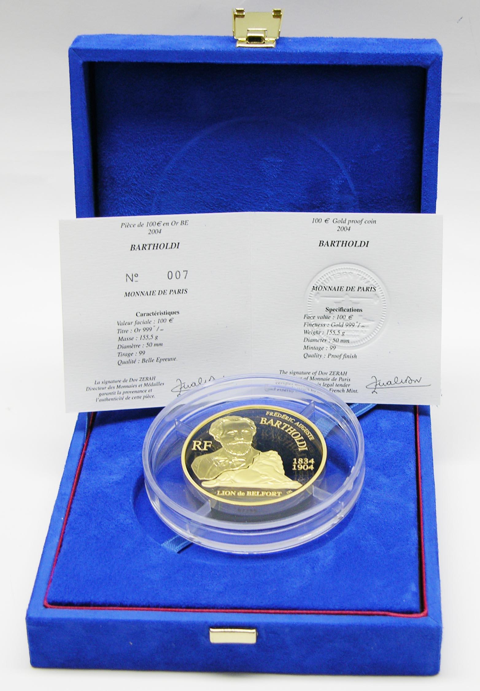 Lieferumfang:Frankreich : 100 Euro Bartholdi inkl. Originaletui und Zertifikat  2004 PP