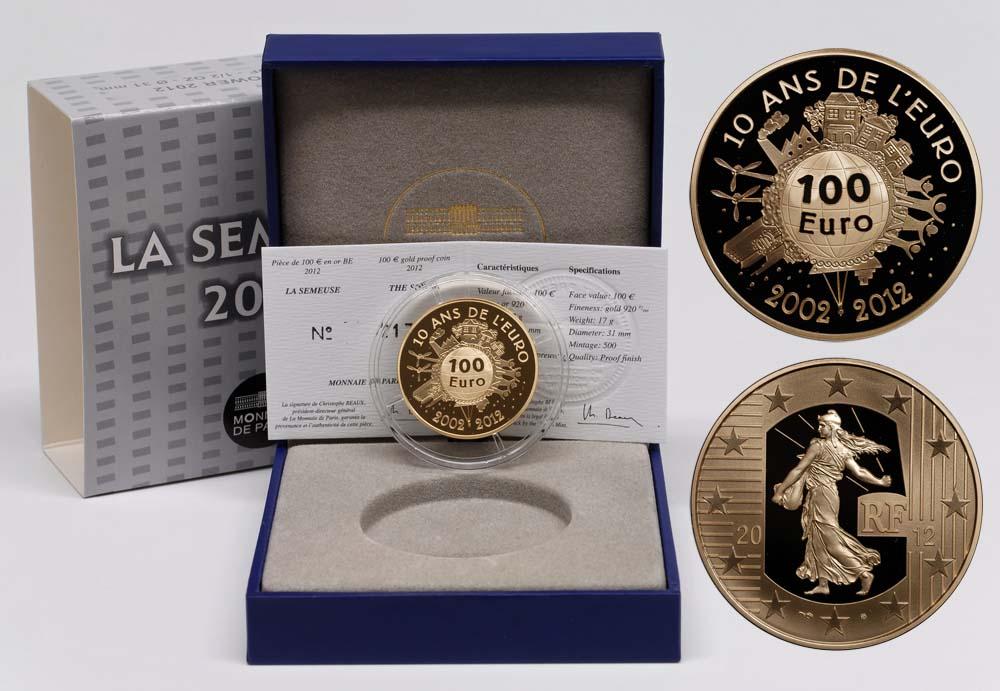 Lieferumfang:Frankreich : 100 Euro 10 Jahre Euro Bargeld  2012 PP