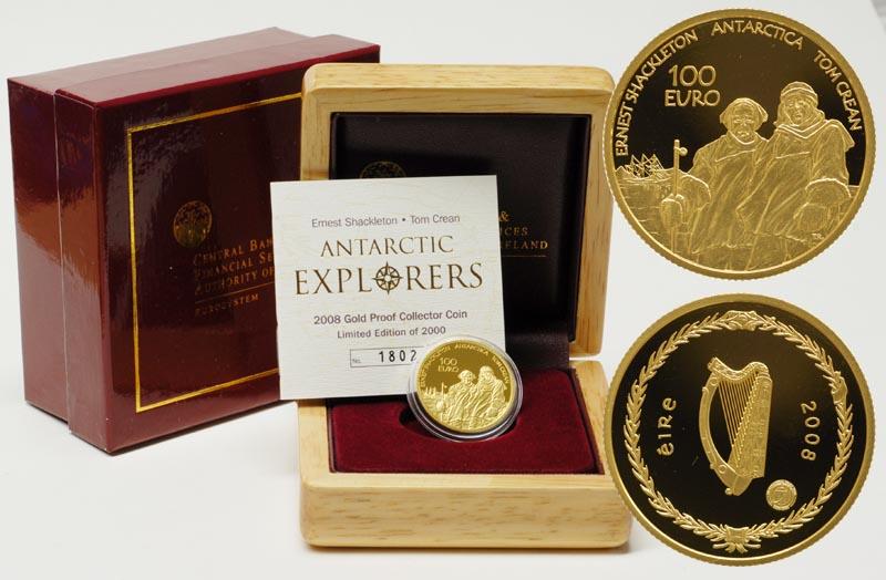 Lieferumfang:Irland : 100 Euro Shackleton und Crean inkl. Originaletui und Zertifikat  2008 PP 100 Euro Irland 2008