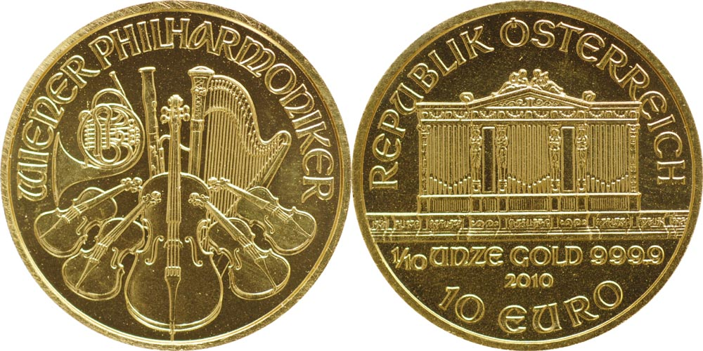Lieferumfang:Österreich : 10 Euro 1/10 Unze  2010 Stgl.