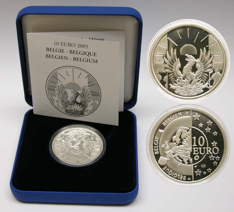 Lieferumfang:Belgien : 10 Euro 60 Jahre Ende des Zweiten Weltkrieges inkl. Originaletui und Zertifikat  2005 PP