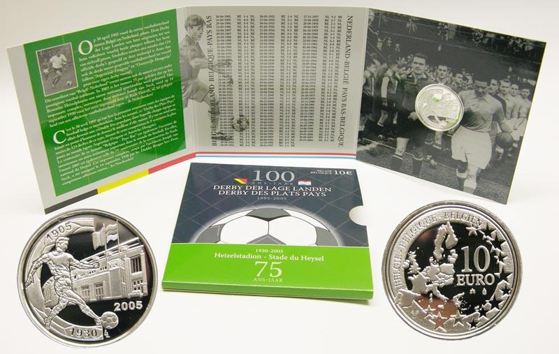 Lieferumfang:Belgien : 10 Euro 100 Jahre Fußball - Derby Niederlande - Belgien im Originalblister  2005 PP