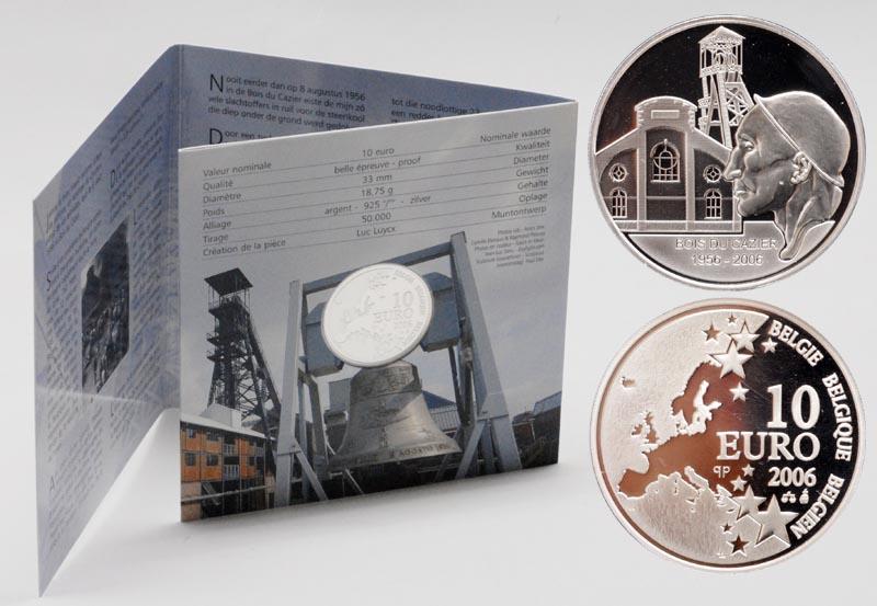 Lieferumfang:Belgien : 10 Euro Marcinelle Grubenunglück im Originalblister  2006 PP 10 Euro Grubenunglück