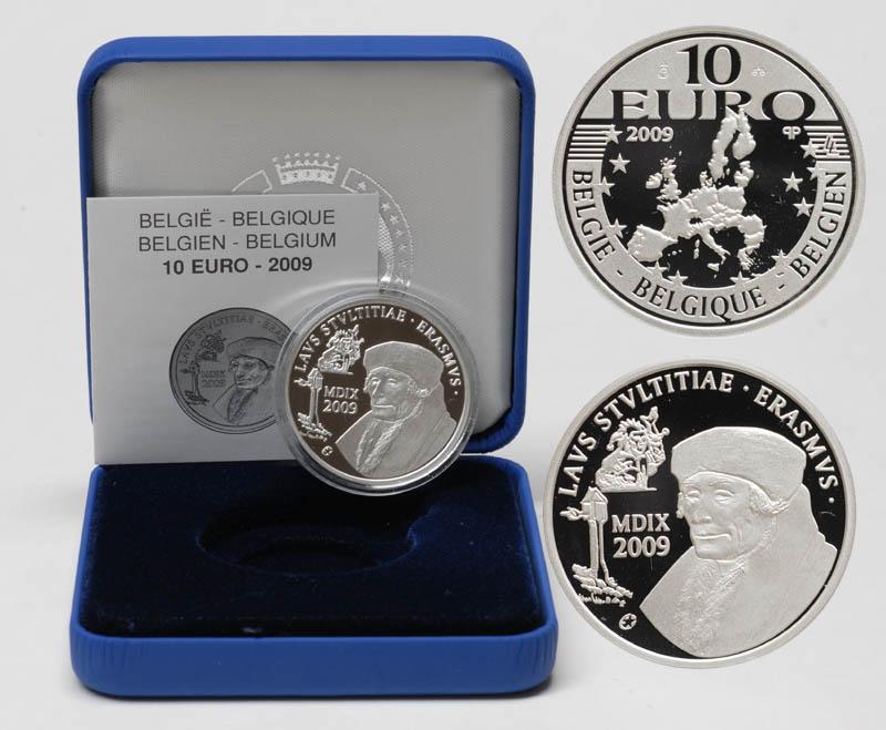 Lieferumfang:Belgien : 10 Euro Encomium Moriae des Erasmus von Rotterdam inkl. Originaletui und Zertifikat  2009 PP 10 Euro Erasmus von Rotterdam