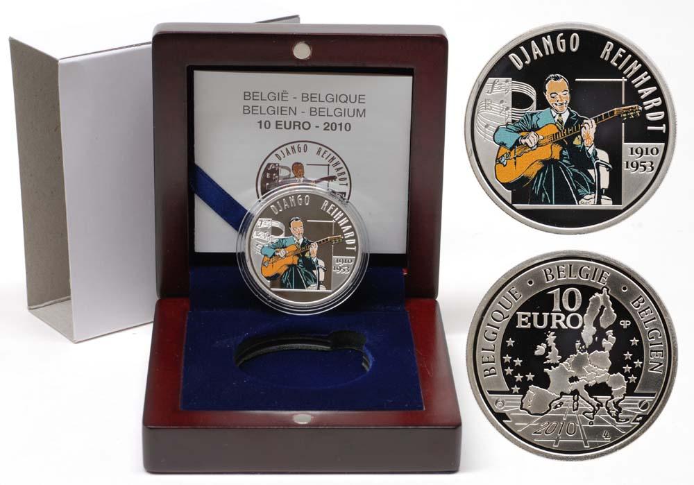 Lieferumfang:Belgien : 10 Euro Django Reinhardt farbig inkl. Originaletui und Zertifikat  2010 PP