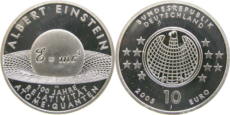 Lieferumfang:Deutschland : 10 Euro Albert Einstein in Originalkapsel  2005 PP