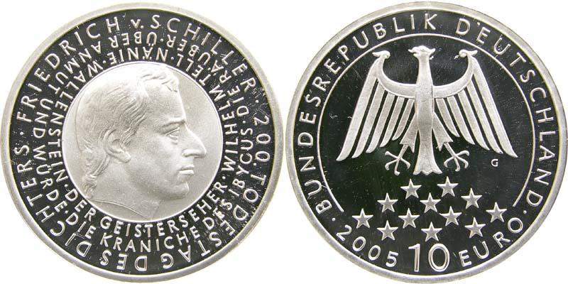 Lieferumfang:Deutschland : 10 Euro 200. Todestag Schiller in Originalkapsel  2005 PP