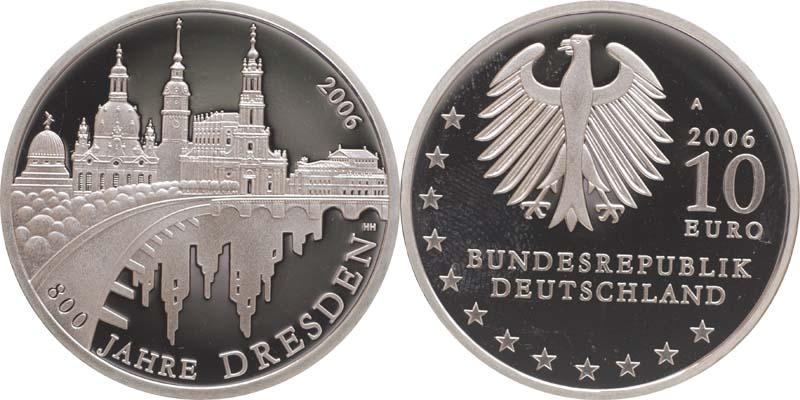Deutschland 10 Euro 800 Jahre Dresden In Originalkapsel 2006 Pp