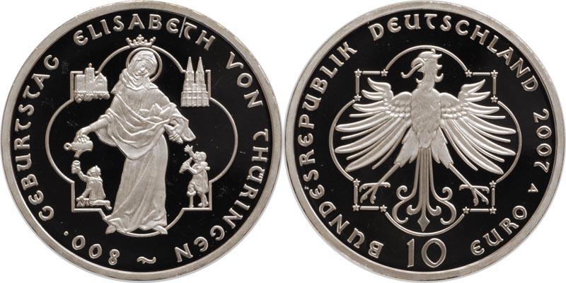 Lieferumfang:Deutschland : 10 Euro 800. Geburtstag Elisabeth von Thüringen in Originalkapsel  2007 PP
