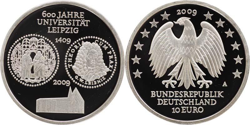 Deutschland 10 Euro 600 Jahre Universität Leipzig 2009 Pp