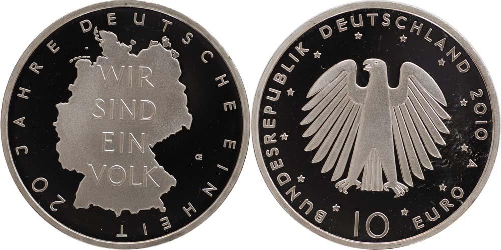 Lieferumfang:Deutschland : 10 Euro 20 Jahre Deutsche Einheit  2010 PP