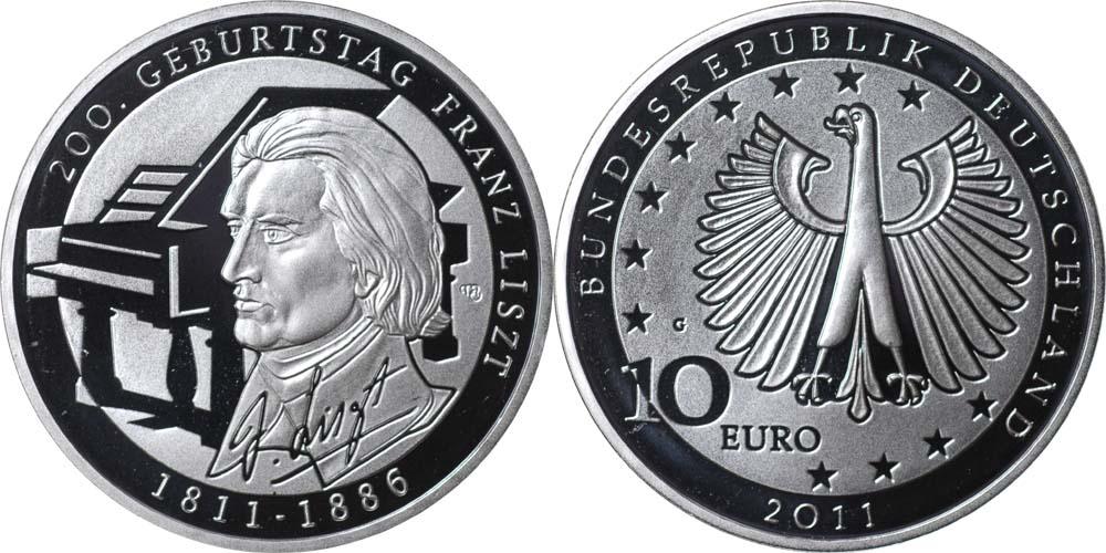 Deutschland 10 Euro 200 Geburtstag Franz Liszt 2011 G Silber Pp