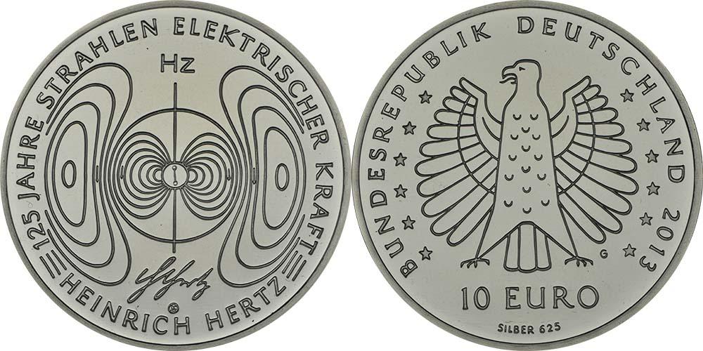 Deutschland : 10 Euro 125 Jahre Strahlen elektrischer Kraft - Heinrich Hertz  2013 PP