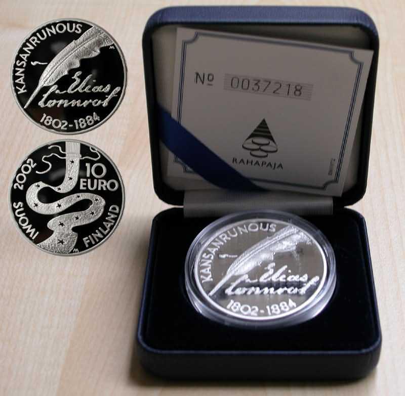 Lieferumfang:Finnland : 10 Euro Lönnrot, inkl. Etui + Zertifikat  2002 PP