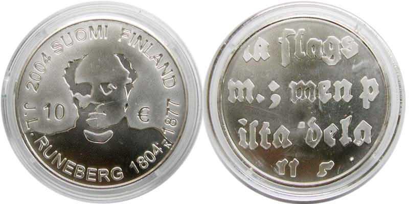 Lieferumfang:Finnland : 10 Euro Runeberg in Originalkapsel inkl. Zertifikat  2004 bfr
