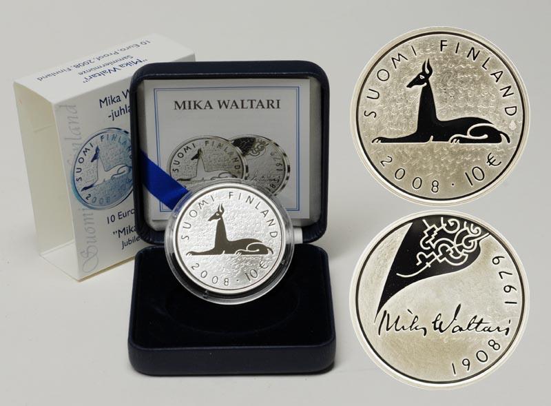 Lieferumfang:Finnland : 10 Euro Mika Toimi Waltari inkl. Originaletui und Zertifikat  2008 PP 10 Euro Mika Waltari PP
