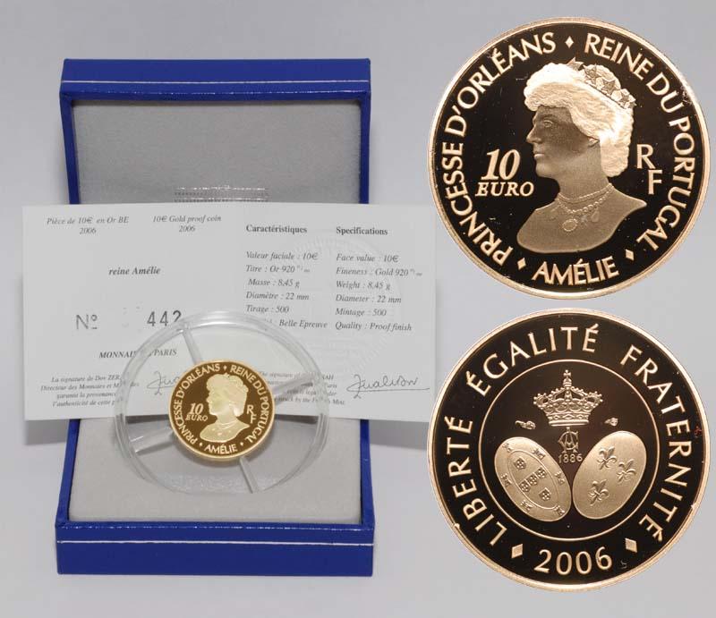 Lieferumfang:Frankreich : 10 Euro Amelie Königin von Portugal inkl. Originaletui und Zertifikat  2006 PP 10 Euro Amelie