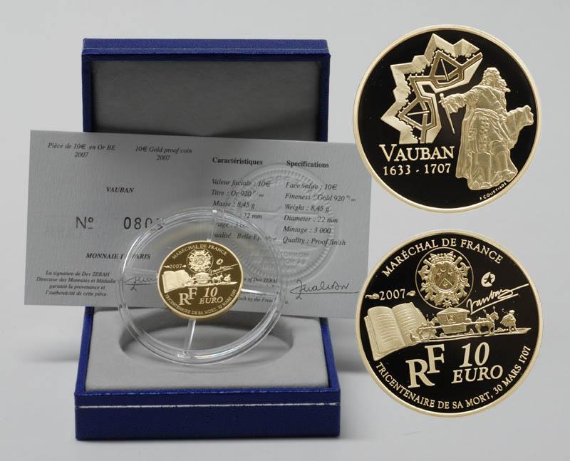 Lieferumfang:Frankreich : 10 Euro Marquis de Vauban inkl. Originaletui und Zertifikat  2007 PP 10 Euro Europa-Stern