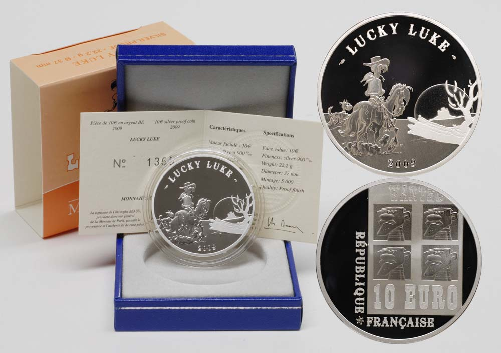 Lieferumfang:Frankreich : 10 Euro Lucky Luke inkl. Originaletui und Zertifikat  2009 PP 10 Euro Lucky Luke