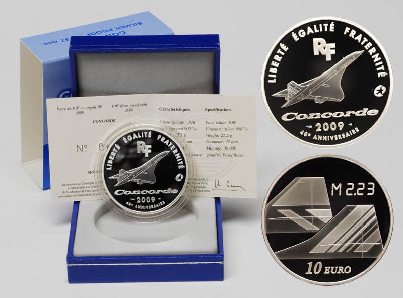 Lieferumfang:Frankreich : 10 Euro Concorde inkl. Originaletui und Zertifikat  2009 PP 10 Euro Concorde