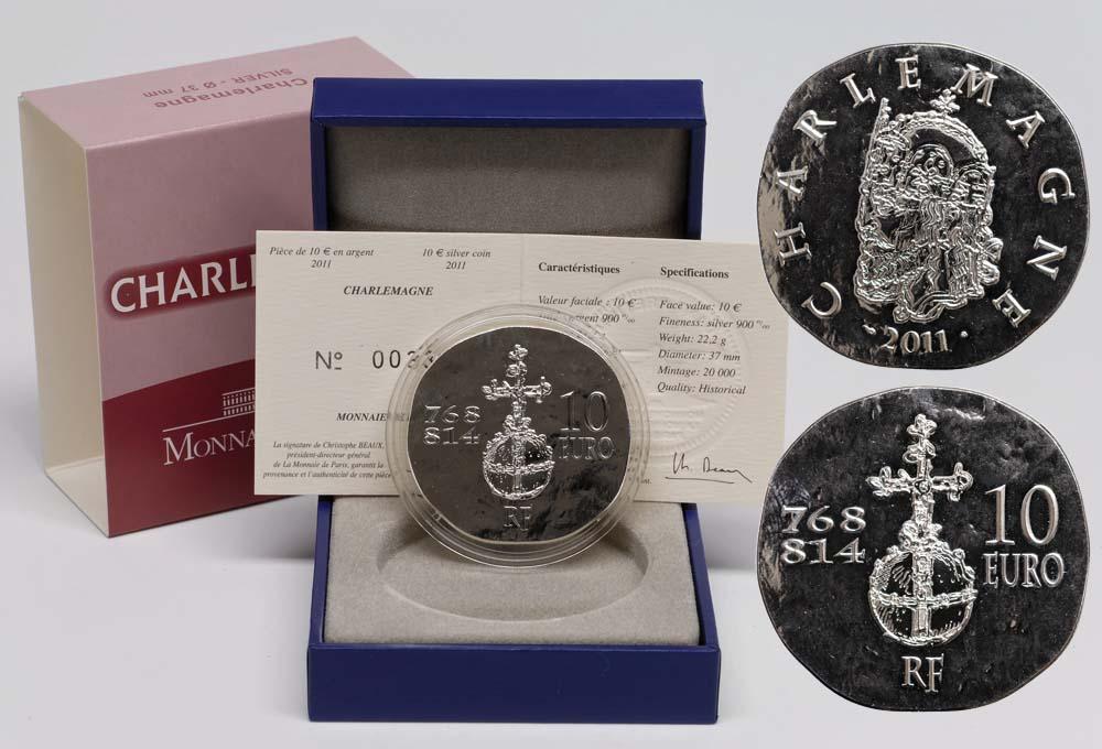 Lieferumfang:Frankreich : 10 Euro Karl der Große  2011 Stgl. Charlemagne