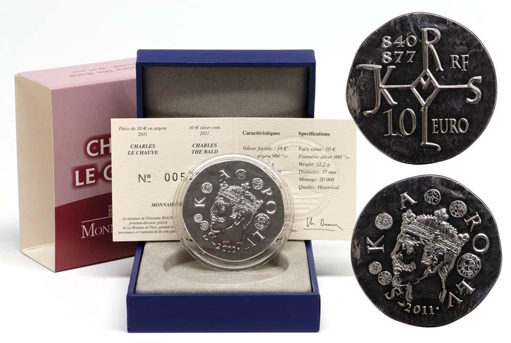 Lieferumfang:Frankreich : 10 Euro Karl der Kahle  2011 Stgl.