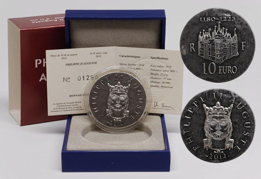 Lieferumfang:Frankreich : 10 Euro Philipp II. August  2012 Stgl.