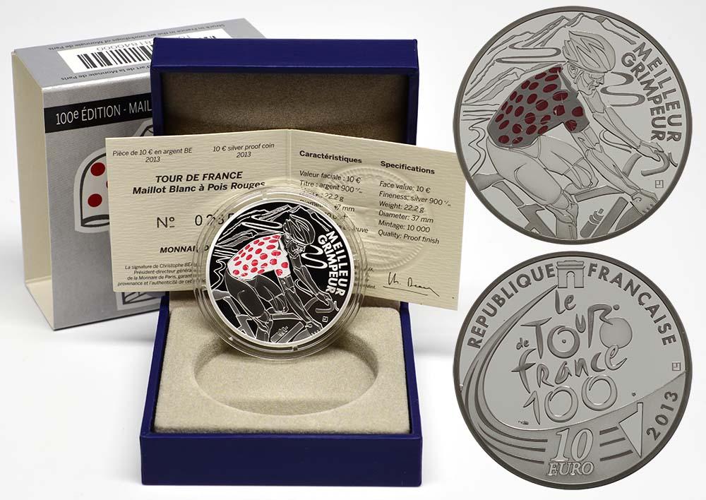 Lieferumfang:Frankreich : 10 Euro rot gepunktetes Trikot  2013 PP