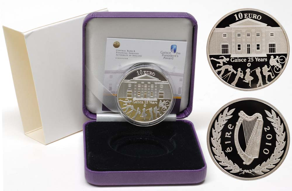 Lieferumfang:Irland : 10 Euro 25 Jahre Gaisce/The President's Award inkl. Originaletui und Zertifikat  2010 PP