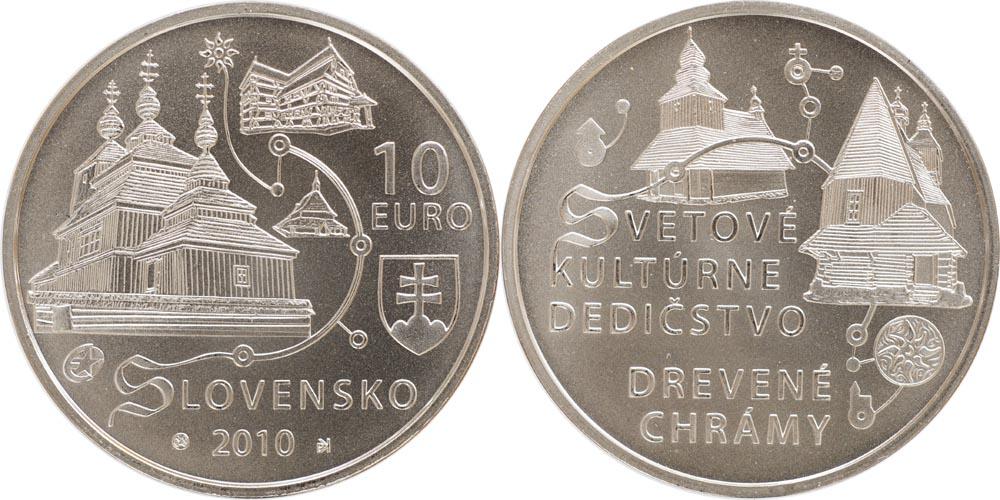 Lieferumfang:Slowakei : 10 Euro Holzkirchen in den Karpaten in Originalkapsel  2010 Stgl.