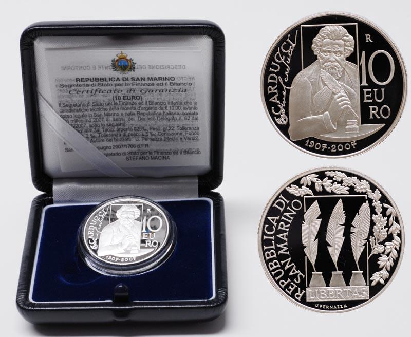 Lieferumfang:San Marino : 10 Euro 100. Todestag von Giosuè Carducci  2007 PP