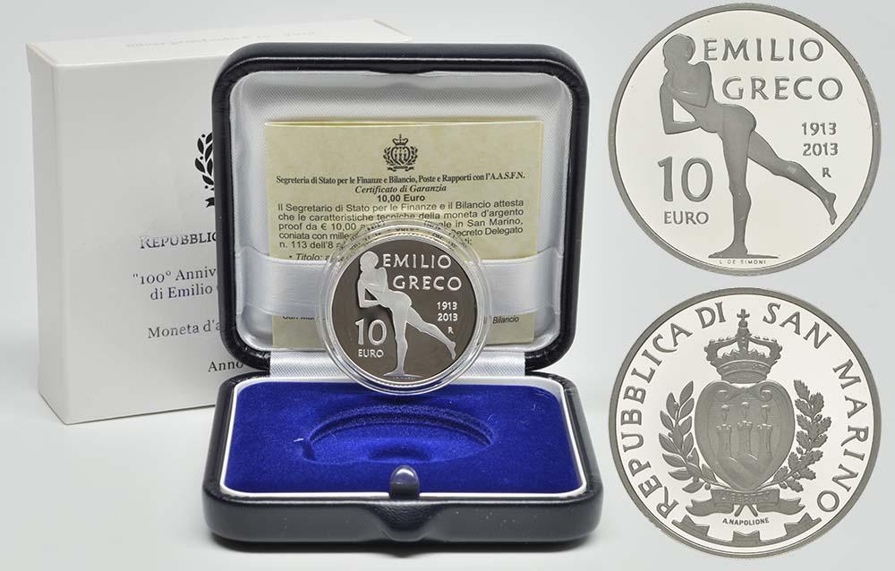 Lieferumfang:San Marino : 10 Euro 100. Jahrestag der Geburt Emilio Grecos  2013 PP