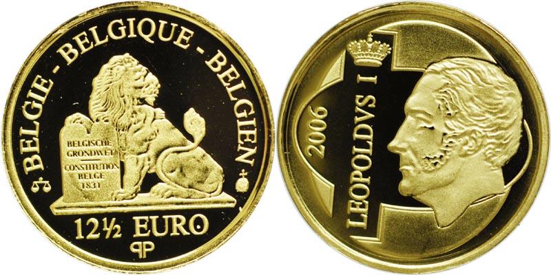 Lieferumfang:Belgien : 12,5 Euro Leopold I. inkl. Zertifikat und Originalkapsel  2006 PP 12 1/2 Euro Belgien 2006