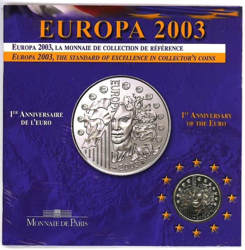 Lieferumfang:Frankreich : 1/4 Euro Europa-Münze in Originalverpackung  2003 Stgl.