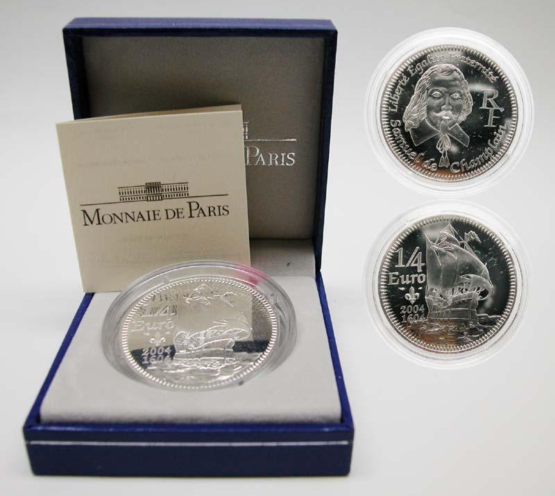 Lieferumfang:Frankreich : 1/4 Euro Champlain inkl. Originaletui und Zertifikat  2004 Stgl.