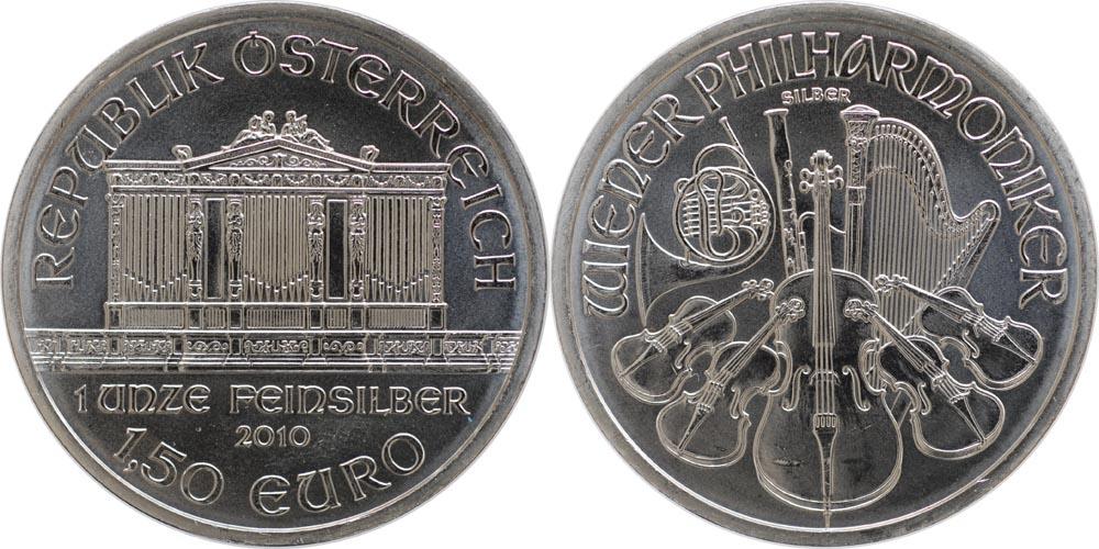 Lieferumfang:Österreich : 1,5 Euro Wiener Philharmoniker  2010 Stgl.