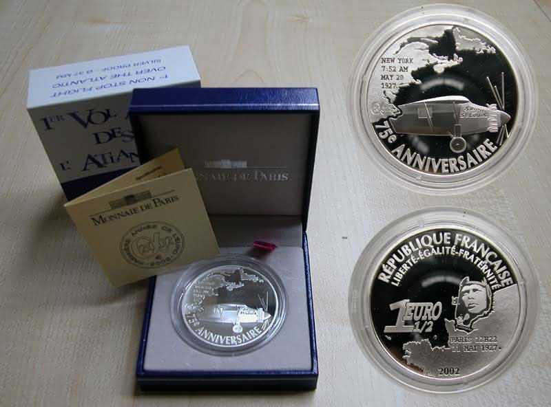 Lieferumfang:Frankreich : 1,5 Euro Charles Lindbergh, inkl. Originaletui und Zertifikat  2002 PP