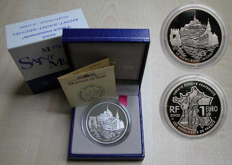 Lieferumfang:Frankreich : 1,5 Euro Mont Saint Michel inkl. Zertifikat und Originaletui  2002 PP